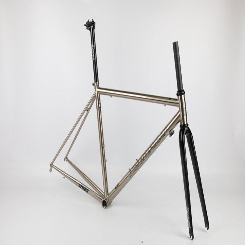 Discount TSUNAMI 520 chrome-molybdenum steel Bicycle Frame Road Bike Frame + full carbon front Fork or steel Fork 3