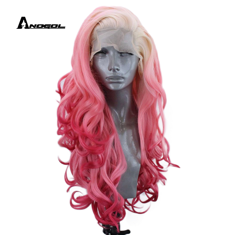 Anogol High Temperature Fiber Long Body Wave Full Hair Platinum Blonde Ombre Pink Synthetic Lace Front