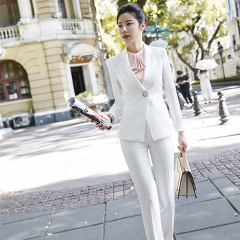New Two Set Women Pants Suit Sizes S-4 XL White Jacket Blazer with Pants Office Women's Shoes Casual Shoes Suits