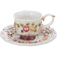 1 Coffee Cup 1 Saucer Sets Beauty Handpainted Ceramic Coffee Cups Tea cup Wedding Party Breakfast cup Best Gift YX0181
