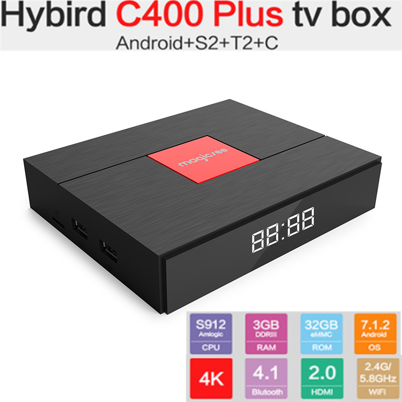 Magicsee C400 Plus smart tv box Hybird S2 + T2 + C TV Box Amlogic S912 Android tv box 100Mbps BT4.1 Support PVR Recording