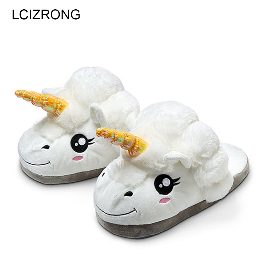 New Winter Indoor Cartoon Slippers Women Plush Home Shoes Unicorn Slippers for Grown Unisex Warm Home Female Slippers Shoes designer fluffy fur women winter slippers female plush home slides indoor casual shoes chaussure femme