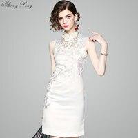 White Elegant Vintage Cheongsam Embroidery Slim Modern Qipao Chinese Evening Dresses Women Traditional Dress Oriental Qipao Q334