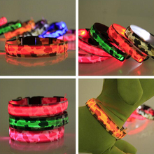 LED Camouflage Dog Collar Luminous Night Safety Light-up Flashing Glowing Dog Collar In The Dark Mascotas Pet Puppy Dog Collars