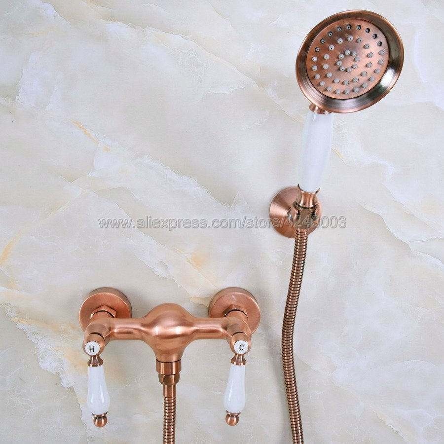 Antique Red Copper Bathroom Shower Faucet Bath Faucet Mixer Tap With Hand Held Shower Head Set Wall Mounted Kna298Antique Red Copper Bathroom Shower Faucet Bath Faucet Mixer Tap With Hand Held Shower Head Set Wall Mounted Kna298