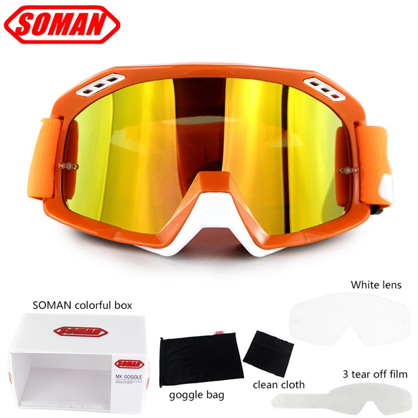 Motorcycle Racing Goggle Motocross Glasses Dirt Bike Helmet Goggles Moto Bike Gafas With Tear Off Films&White Lens Soman SM15