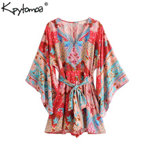 Boho Chic Summer Vintage Floral Print Sashes Playsuits Women 2019 Fashion V Neck Kimono Sleeve Beach