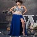 Royal Blue Halter Neck vestido de festa una línea cabestro cuello largo moldeado de baile vestidos abendkleider Prom vestidos 2015 with hendidura