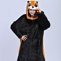 Goedkope Dames Een Stuk Anime Animal Wasbeer Cosplay Kostuums Pyjama Volwassen Unisex Carnaval Halloween Onesie met Staart Jumpsuit