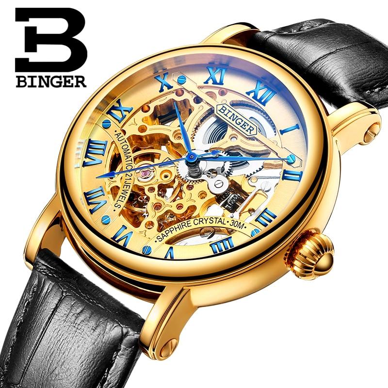 Hollow Out Mechanical Wristwatches Switzerland Luxury Men's Watch BINGER Brand sapphire Genuine Leather Strap Clock B-5066M-4 switzerland luxury men s watche binger brand hollow out mechanical wristwatches sapphire full stainless steel b 5066m 6