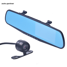 Dual Camera Car Dvr Rearview Mirror Dash Cam G-Sensor HD 1080P 4.3 170 Degree night vision High Quality Free Shipping