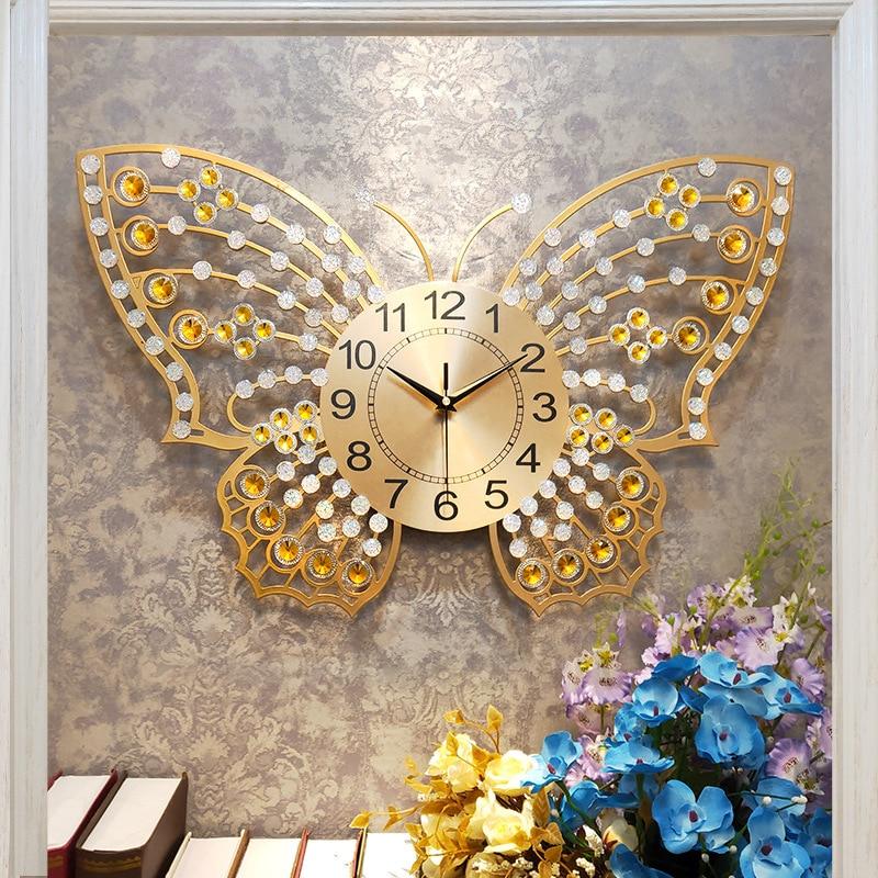 Chinese Minimalist Creative 3D Butterfly Wall Clock Modern Home Clock Living Room Mute Clock Fashion Decorative Quartz Clock