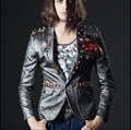 Hot new Silver metal rivets Hairstylist Blazers men's suits dress Bar nightclub singer stage Nightclub Costumes clothing