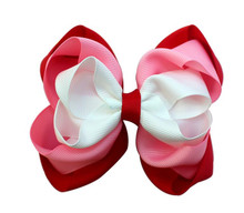 Adogirl 10pcs New Style Valentines Day Hair Bows for Gift White Pink Red Layered Ribbon Handmade Accessories Clips