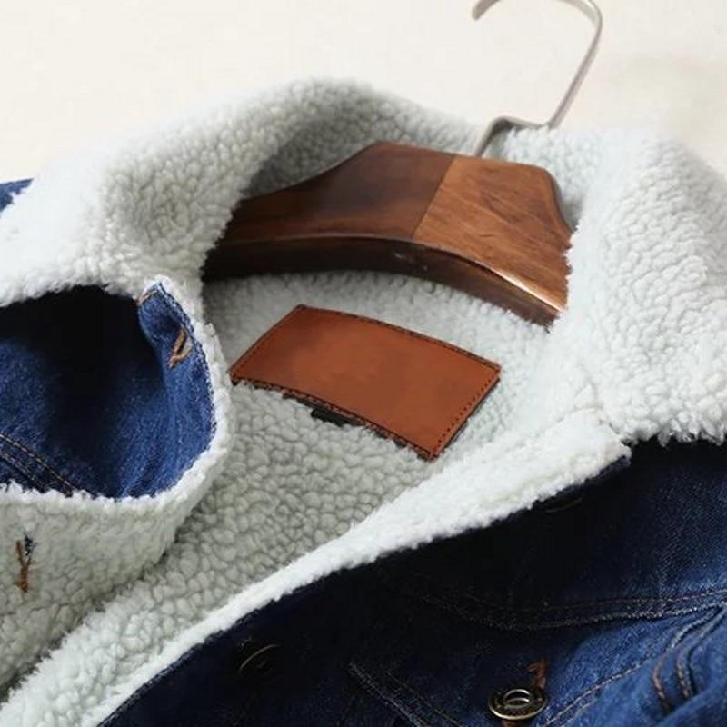Blue Di Blu Singolo Streetwear 2019 Inverno Chaqueta Mujer Jeans Sottile Cappotto Petto Spessore Agnello Lana Donne Solido Casual Giacca Nuovo Delle Femminile q1fn1X