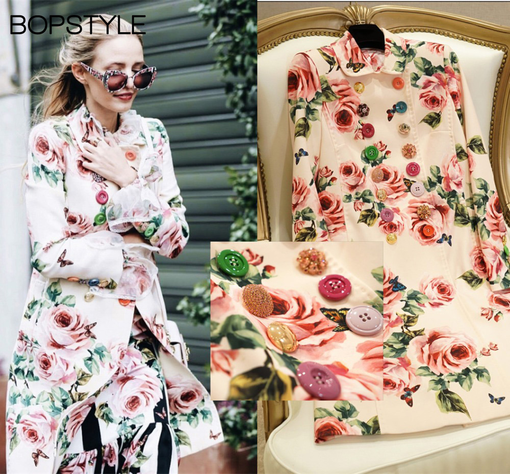 2019 BopStyle Women Double Breasted Rose Print Coat Trench With Various Buttons Stylish Floral Printed Trench