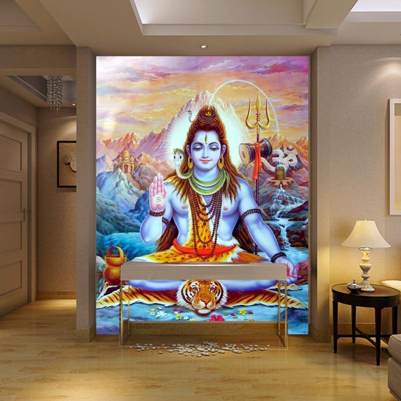 3d House Wallpaper Room Religious Statues Hindu God Wallpaper Mural Yoga Wallpaper
