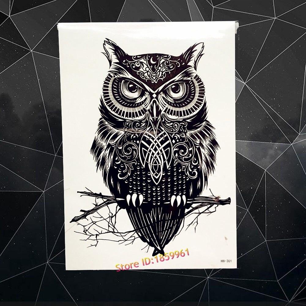 Fashion Black Wise Owl Designs Waterproof Tattoo WOmen ...