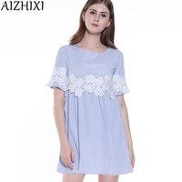 AIZHIXI Floral Lace Applique Blue Striped Babydoll Mini Dress Women 2017 Summer Short Sleeve Dresses Womans