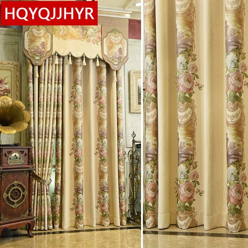 Aliexpress.com : Buy European top beige luxury art jacquard villa curtains for living room ...