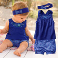 Fashion Newborn Baby Girl Clothes 2016 New Summer Baby Clothes Cotton Infant Sets(Tops+Headband+Pants) Bebe Menina
