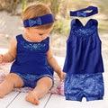 Fashion Newborn Baby Girl Clothes 2016 New Summer Baby Clothes Cotton Infant Sets(Tops+Headband+Pants) Bebe Menina