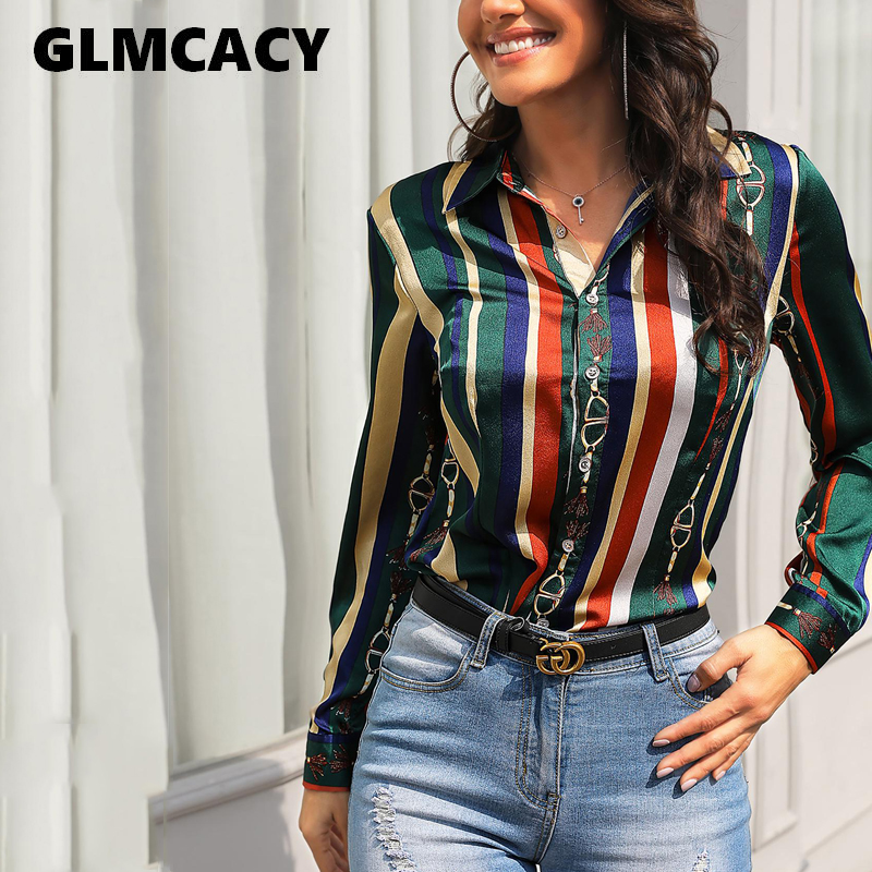Plus Size Women Hawaiian Vacation Shirts Saddle Print Multicolor Stripes Long Sleeve Blouse Casual Blouse Long Sleeves Chic Tops(China)