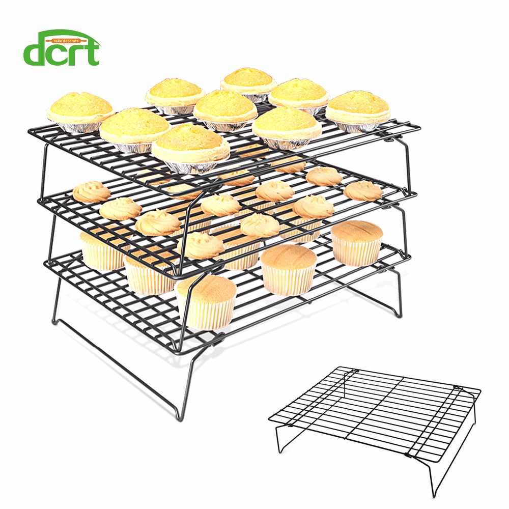 3 layers stackable cake cooling rack metal cake biscuits bread cookie cooling rack net mat baking tray kitchen accessories