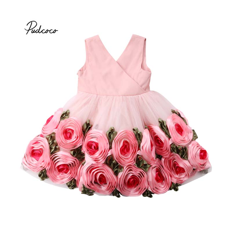 Pudcoco 2018 Toddler Kid Baby Girl Dress 3D Rose Party Pageant Dress Princess Flower Bow Tulle Tutu Dresses Outfits Costume 2-8Y kid girl princess dress toddler sleeveless dress tutu lace flower bow dresses pageant dress clothes