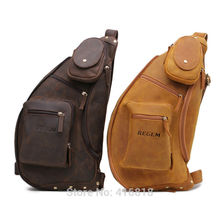 MEN BAG Men's Women's Real Crazy Horse Leather genuine Chest Bag Unbalance Siling Bicycle Bag MESSENGER crossbody bags for men