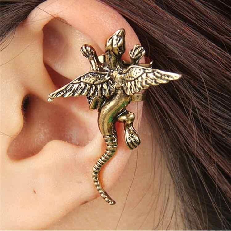 1 個 1 個スモール 4 センチメートルヴィンテージドラゴンクリップイヤリング女性のための右耳の摩耗パーティージュエリーギフト合金ニッケル送料 wj053