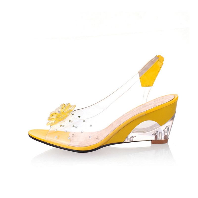 2018 À Ouvert Dames Femmes Pour D'été Cristal Mode forme Noir blanc rouge Plate Bout Transparent Coins Sandales Chaussures jaune Floral bleu Femme De EwSq8