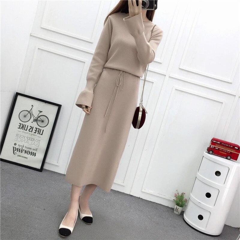 Al648 Robes D'hiver Théegg Automne Brown purple Mince 2019 beige Robe Femme Pour Brun De black Femmes Kintted Blouson Vêtements Longue Invierno wIqAtqa