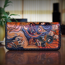 OLG.YAT hangmade men wallets Italian leather Vegetable tanned cowhide purse zipper handbag Mahakala wallet mens bag retro pure