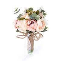 Romantik Gül Buketi Yapay Çiçek Gelin Nedime Holding Çiçekler Dantel Ipek Kurdele Ile Düğün Dekorasyon Için