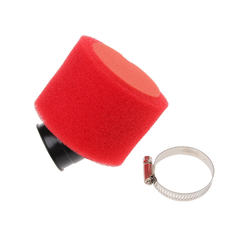 Fashion New 1 Pc Red 38mm Bent Angled Foam Air Filter Pod 110 <font><b>125cc</b></font> <font><b>PIT</b></font> Quad Dirt <font><b>Bike</b></font> ATV Buggy with 45 Degrees Neck image