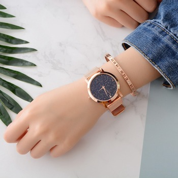 Lvpai Brand Women's Luxury Starry Steel Ladies Rose Case Casual Bracelet Quartz Watches  1
