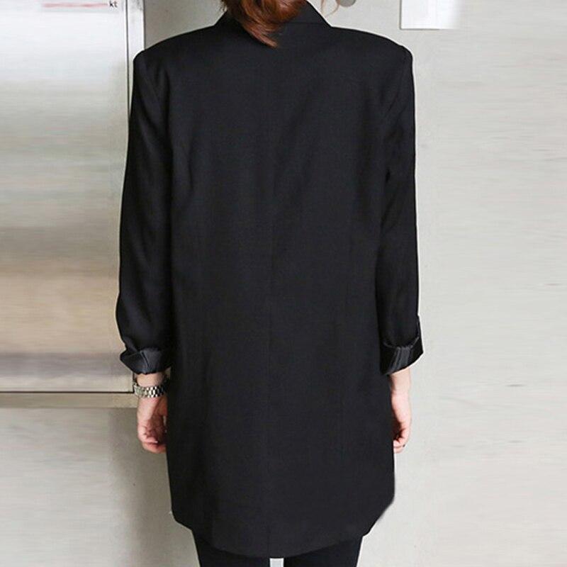 27b848a5aa 2019 Solide Style Long Noir Femmes Veste et Blazer Femme Entaillé Col  Asymétrique Chic Dames Blazers feminino dans Blazers de Mode Femme et  Accessoires sur ...