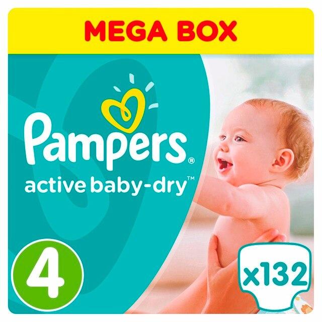 Подгузники Pampers Active Baby-Dry 8-14 кг, 4 размер, 132 шт.