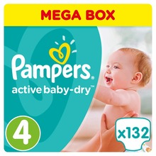 Подгузники Pampers Active Baby-Dry 8-14 кг, 4 размер, 132 шт.(Russian Federation)