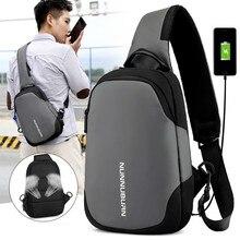 лучшая цена Korean Version Men Multipurpose Chest Bags USB Charging Crossbody Bags Male Anti Theft Sling Bag Short Trip Messenger Bags 2019