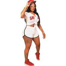 Новые женские бейсбольные майки с коротким рукавом, бейсбольные рубашки в полоску с буквенным принтом, топ с v-образным вырезом, сексуальные шорты, бейсбольный костюм, набор
