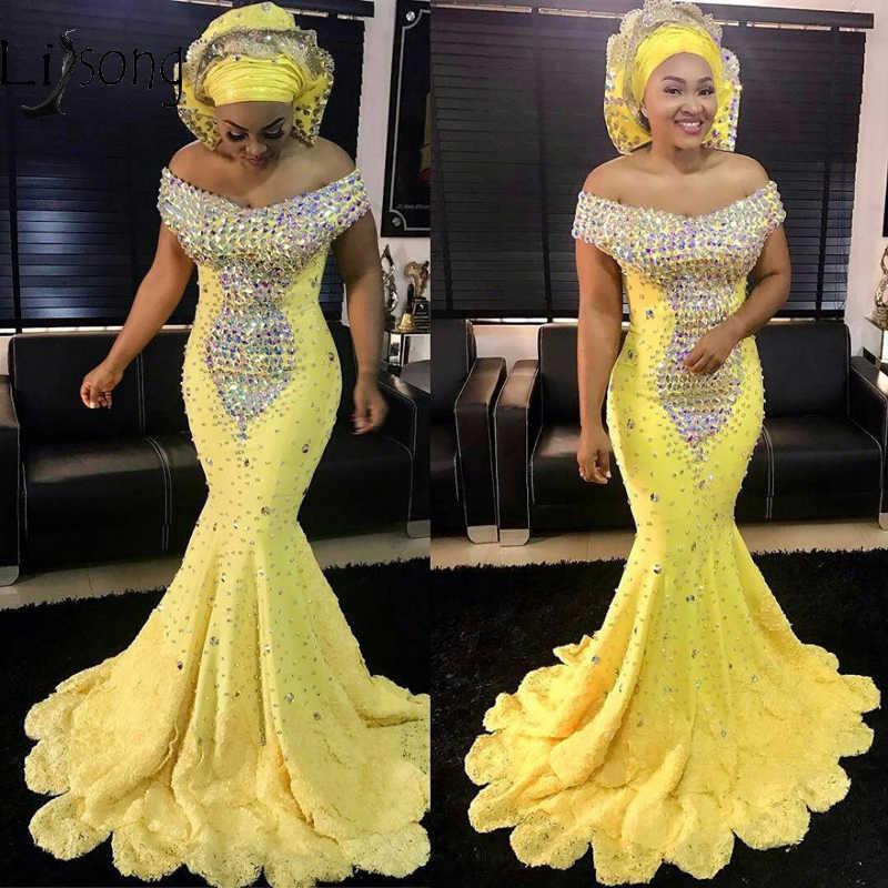 Aso Ebi, желтые платья для выпускного со стразами, Длинные бальные платья русалки, африканские вечерние платья, большие размеры, на шнуровке, Vestido Longo