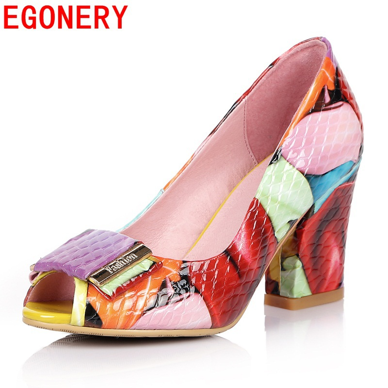 EGONERY patent genuine leather 8cm high heels shoes woman fashion peep toe party dance shoes red colorful large size woman pumps