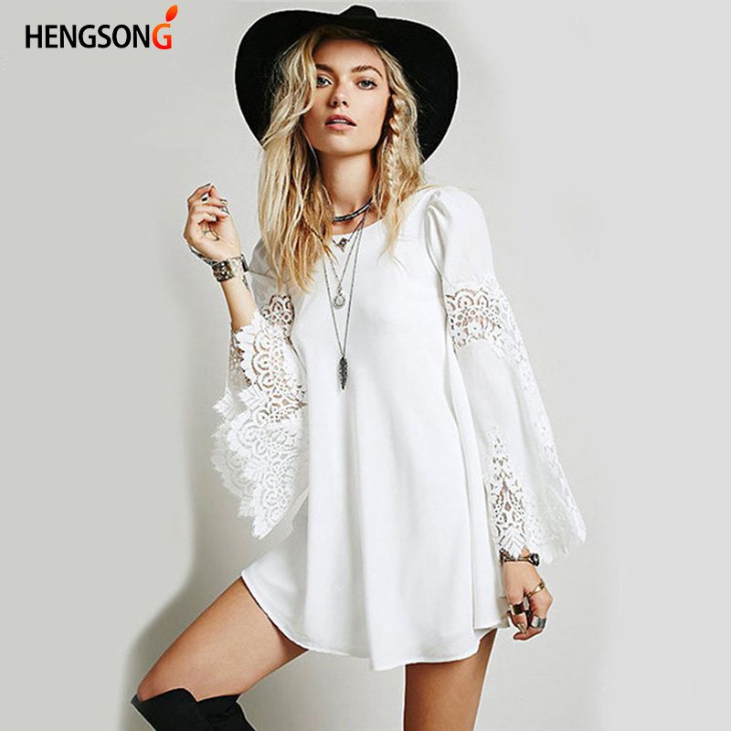 HENGSONG 2018 New Arrival Chiffon Splice Lace Dress Women Summer Autumn Long Sleeve O-Neck Mini Dress Female Elegant Dress