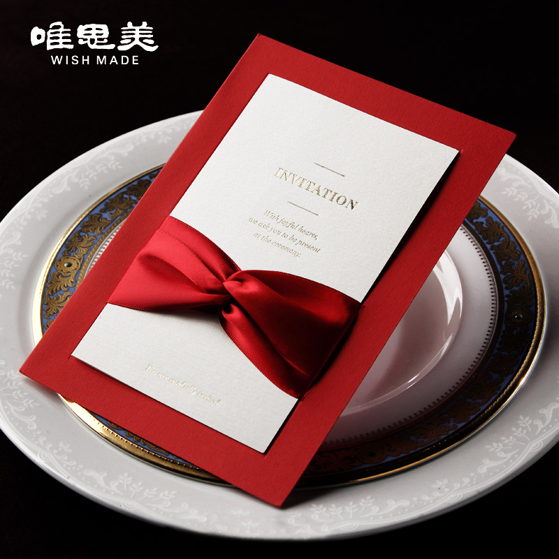 Laser Flower Series Classic Chinese Red Bow Knot Wedding Invitations ...