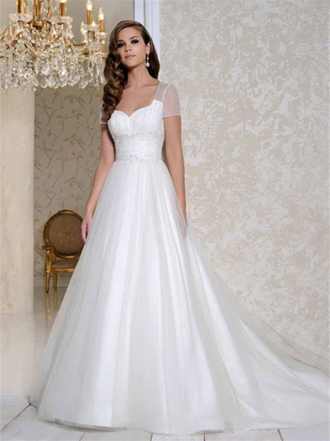 vestido de noiva 2015 de manga corta opacidad boda simple vestidos
