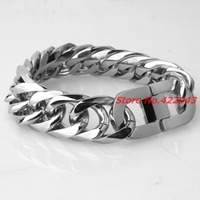 Fashion Men's Jewelry High Polished Stainless Steel Cuban Curb Bracelet Mens Cuban Curb Chain Bracelet Stainless Steel 21mm * 9