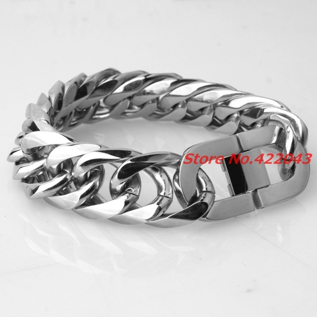 Fashion Men's Jewelry High Polished Stainless Steel Cuban Curb Bracelet Mens Cuban Curb Chain Bracelet Stainless Steel 21mm * 9""