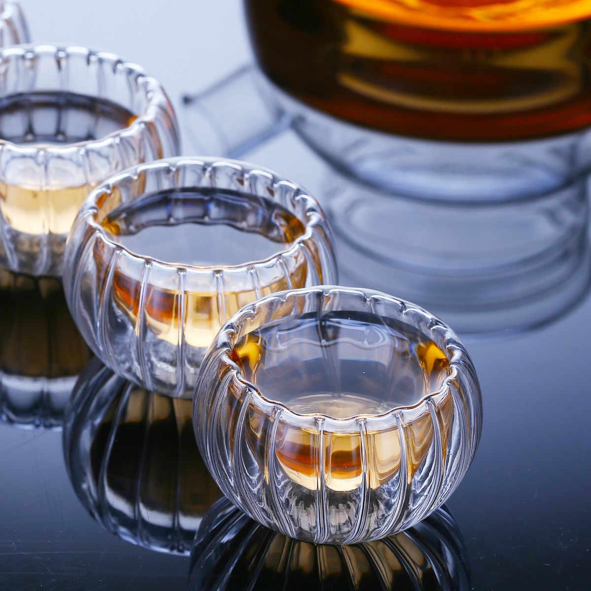 6 ピース/ロット二重壁ガラスミニカボチャストライプショットガラスボダムデザイン抗ホットティーカップ安い nmd 酒ワイングラス卸売